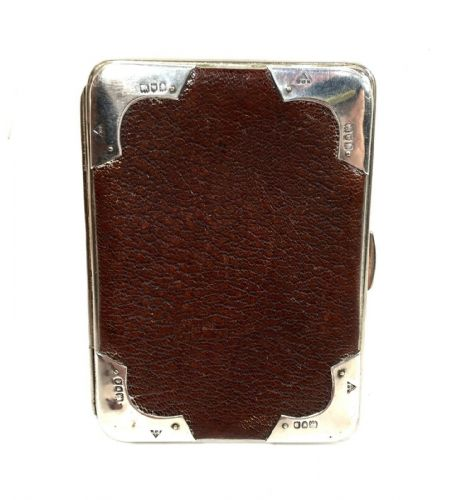 Edwardian Maroon Leather & Silver Wallet / Purse / Antique Fashion Hallmark 1901